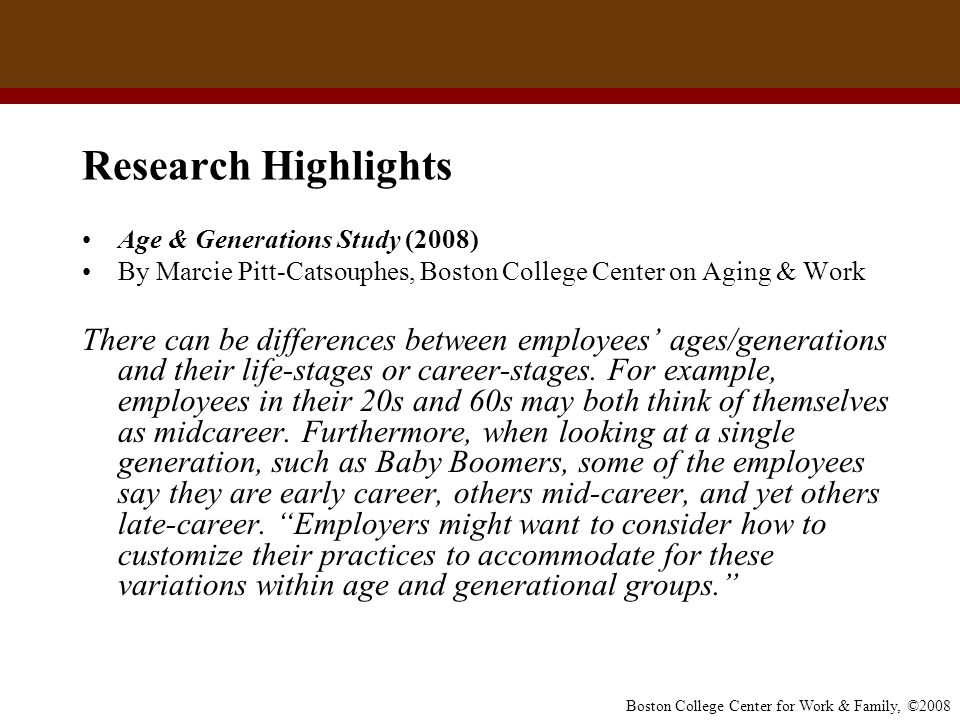 Boston College Center for Work & Family, ©2008 Research Highlights Age & Generations Study (2008) By Marcie Pitt-Catsouphes, Boston College Center on