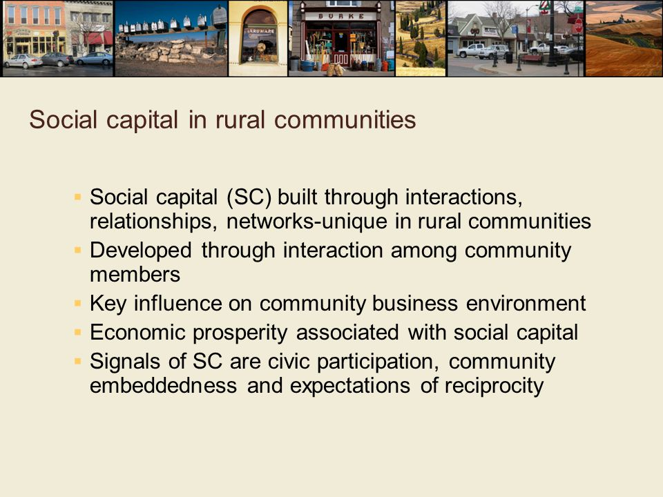 Social capital in rural communities  Social capital (SC) built through interactions, relationships, networks-unique in rural communities  Developed