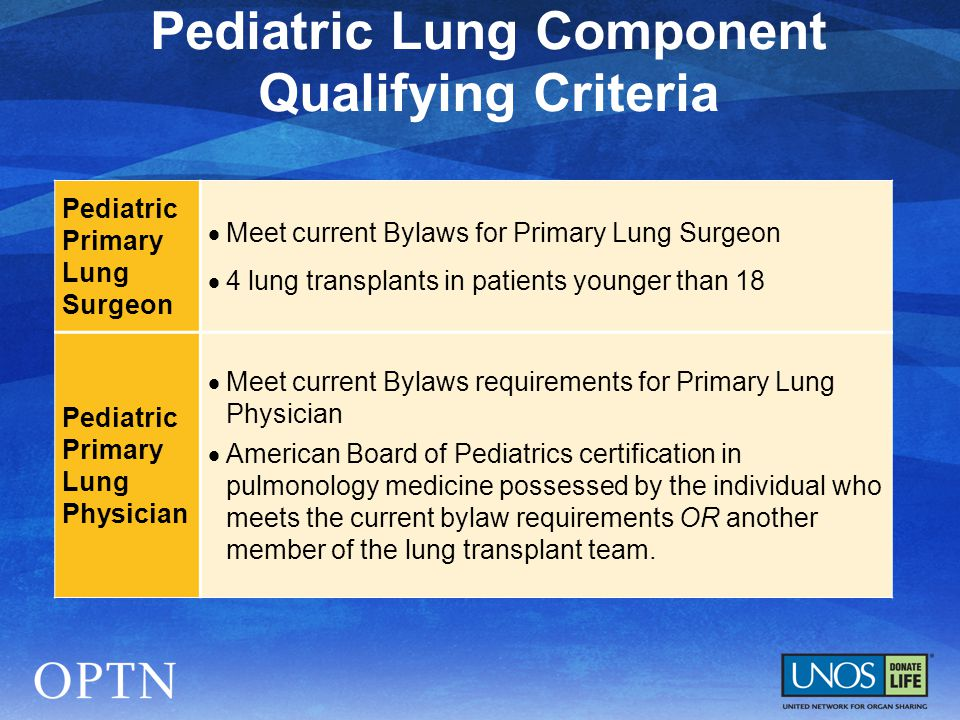 Pediatric Primary Lung Surgeon  Meet current Bylaws for Primary Lung Surgeon  4 lung transplants in patients younger than 18 Pediatric Primary Lung