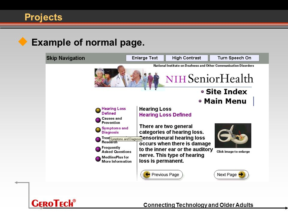 Connecting Technology and Older Adults Projects  Example of normal page.
