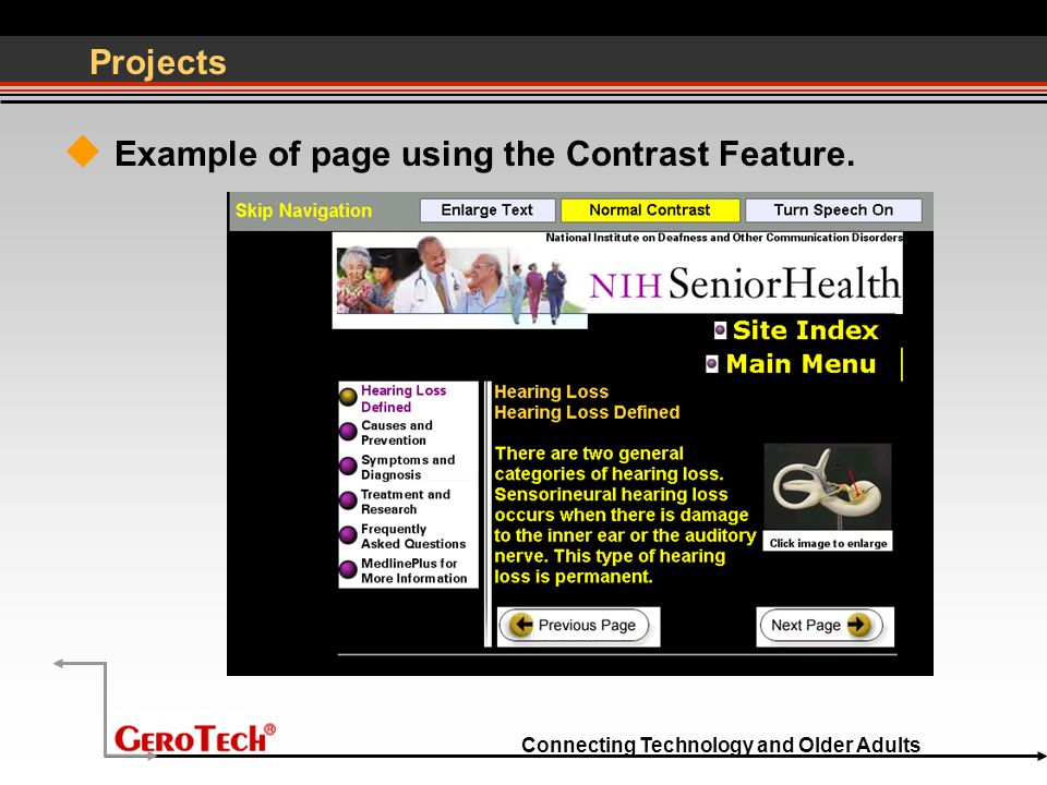 Connecting Technology and Older Adults Projects  Example of page using the Contrast Feature.