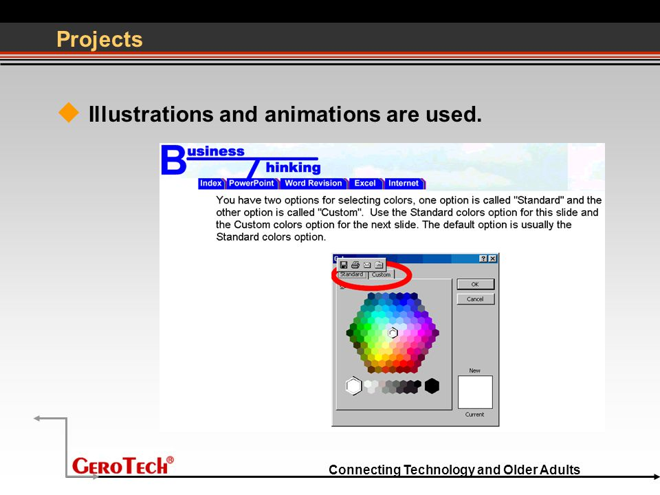 Connecting Technology and Older Adults Projects  Illustrations and animations are used.