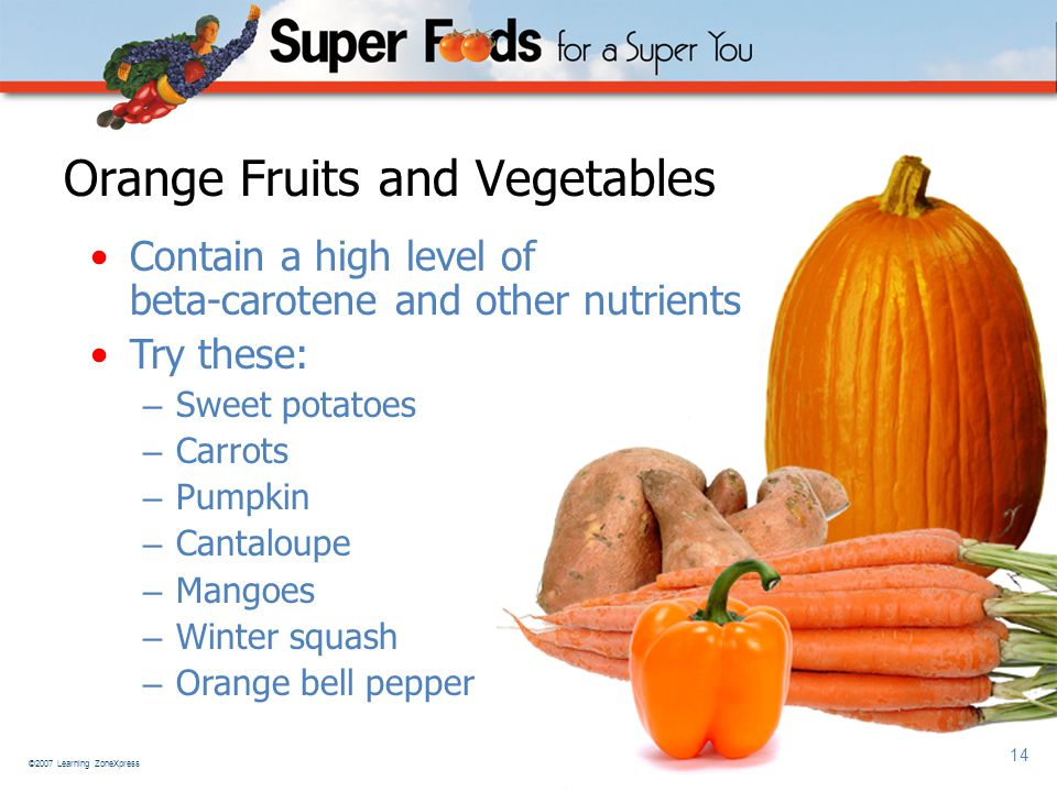 ©2007 Learning ZoneXpress 14 Orange Fruits and Vegetables Contain a high level of beta-carotene and other nutrients Try these: – Sweet potatoes – Carrots – Pumpkin – Cantaloupe – Mangoes – Winter squash – Orange bell pepper