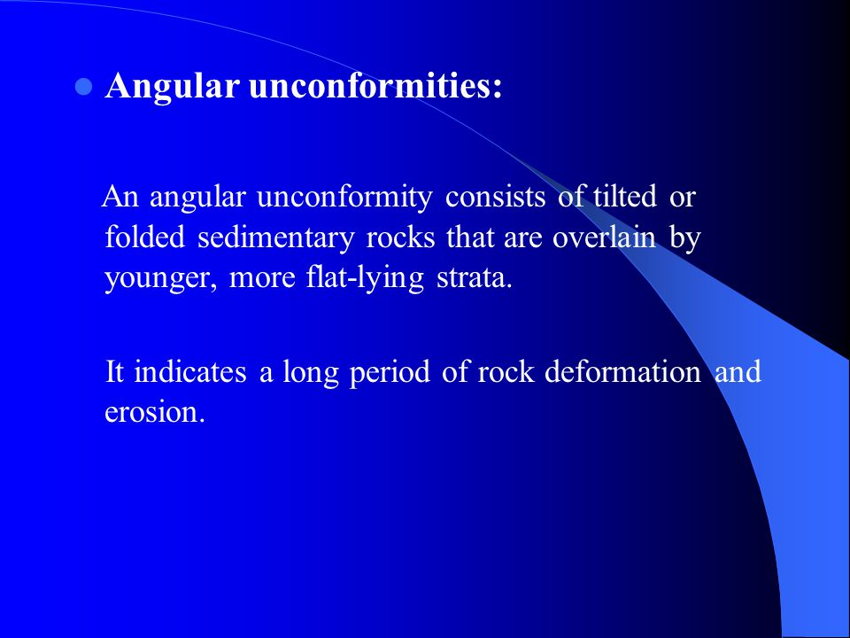 Formation of an angular unconformity.