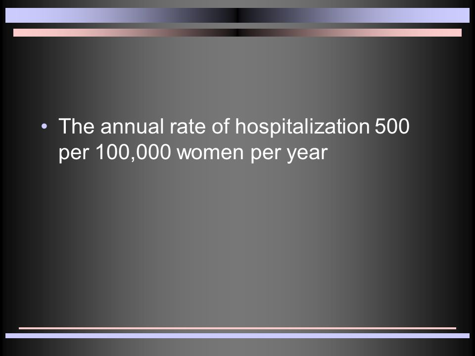 The annual rate of hospitalization 500 per 100,000 women per year