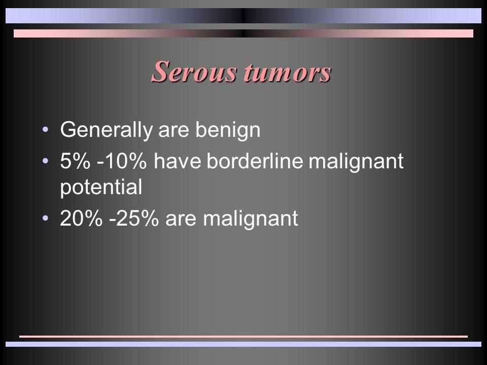 Serous tumors Generally are benign 5% -10% have borderline malignant potential 20% -25% are malignant