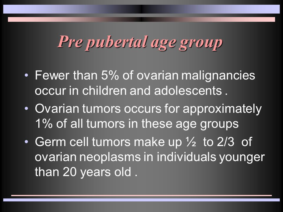 In girls younger than 9 years of age approximately 80% of the ovarian neoplasms were found to be malignant.