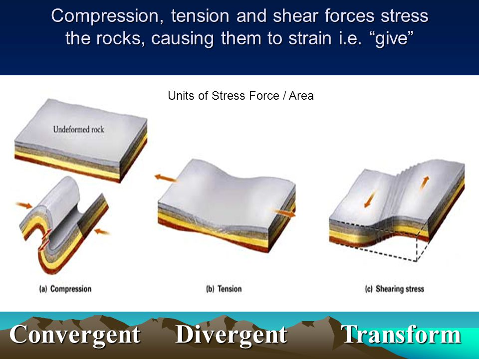 "Compression, tension and shear forces stress the rocks, causing them to strain i.e. ""give"" Convergent Divergent Transform Units of Stress Force / Area"