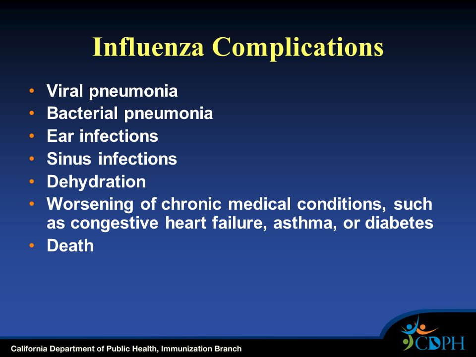 Influenza Complications Viral pneumonia Bacterial pneumonia Ear infections Sinus infections Dehydration Worsening of chronic medical conditions, such as congestive heart failure, asthma, or diabetes Death