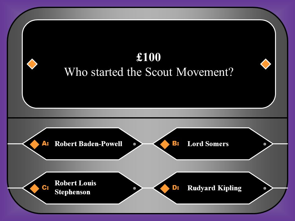 A:B: Beaver ScoutsCub Scouts £2,000 What Section was stated in 1919 for older boys C:D: Rover Scouts Venture Scouts