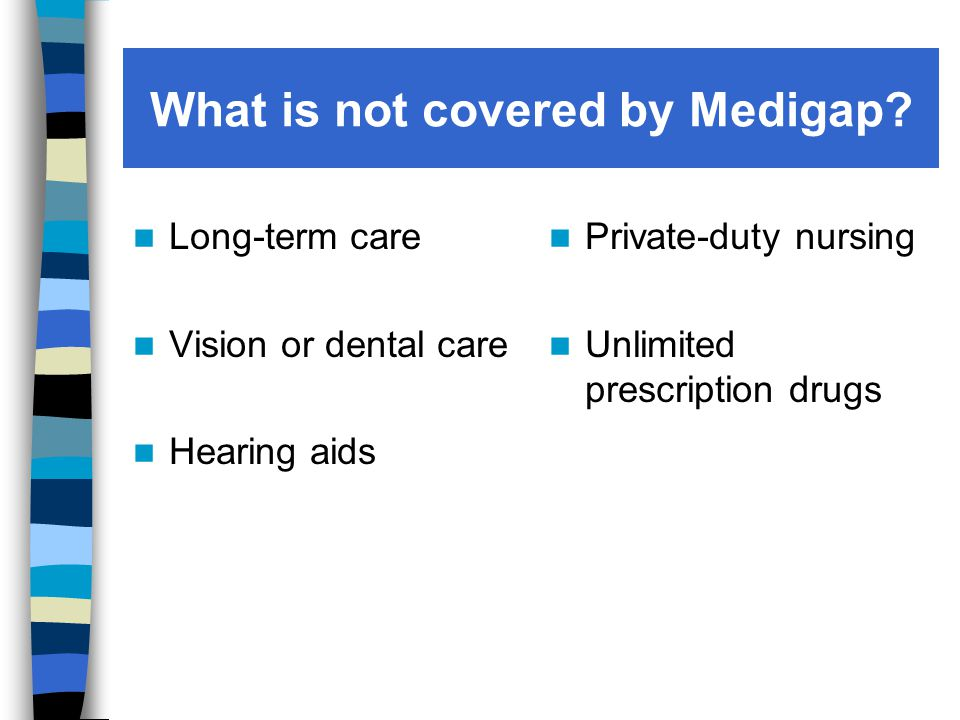 What is not covered by Medigap.