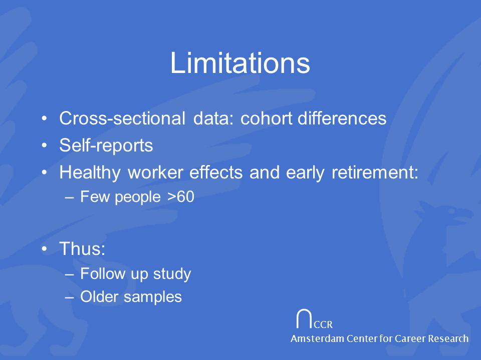 ∩ CCR Amsterdam Center for Career Research Limitations Cross-sectional data: cohort differences Self-reports Healthy worker effects and early retirement: –Few people >60 Thus: –Follow up study –Older samples