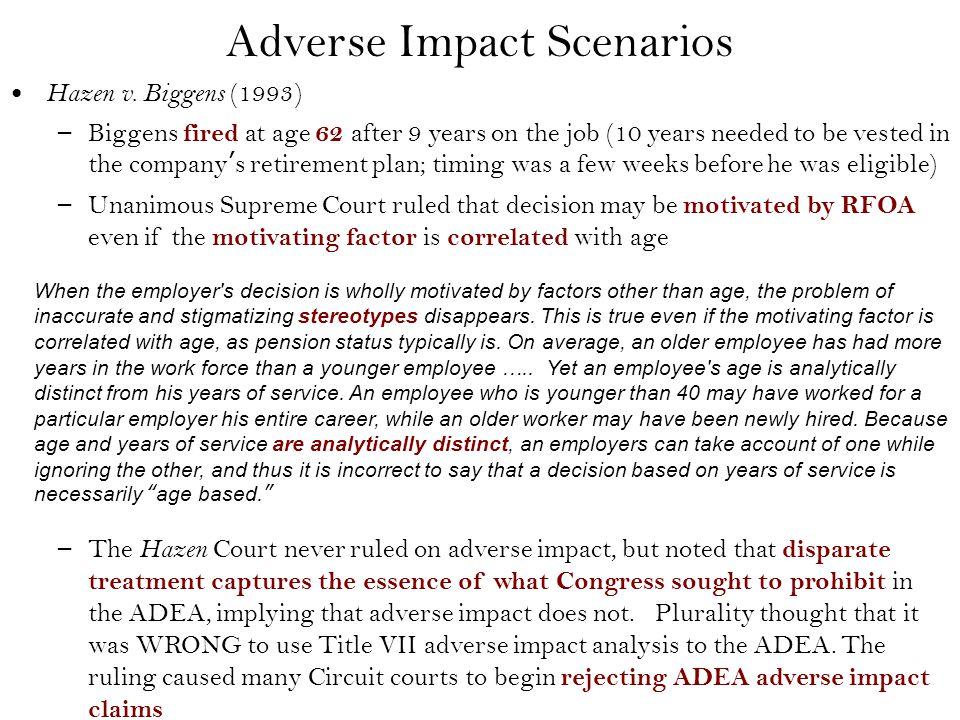 Adverse Impact Scenarios Hazen v.
