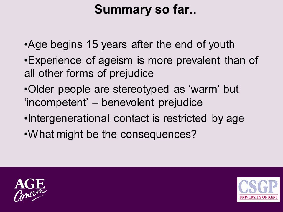 Older People are Doddery (but Dear) Key traits: Differences in 'warmth' and 'competence' stereotypes between older and younger people