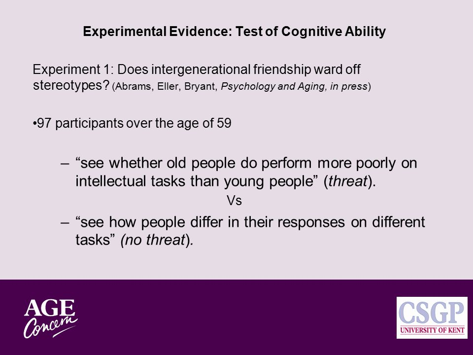 Evidence from the ACE 2004 Survey 70+ (n=278) Looking back: Intergenerational Contact and Self-Stereotypes Among the Over 70s
