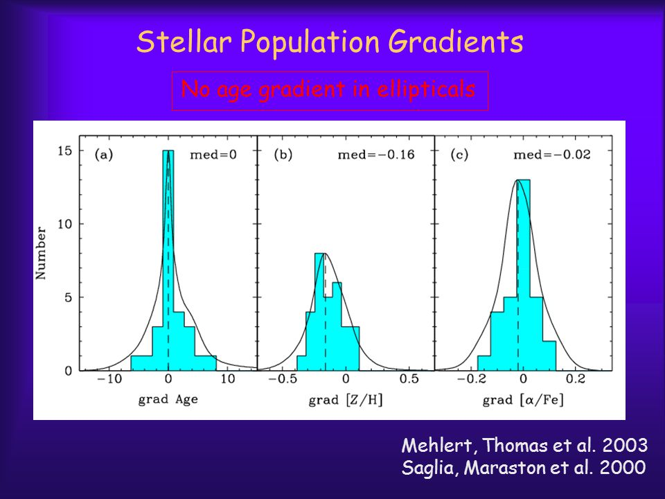 Stellar Population Gradients Mehlert, Thomas et al. 2003 Saglia, Maraston et al. 2000 No age gradient in ellipticals