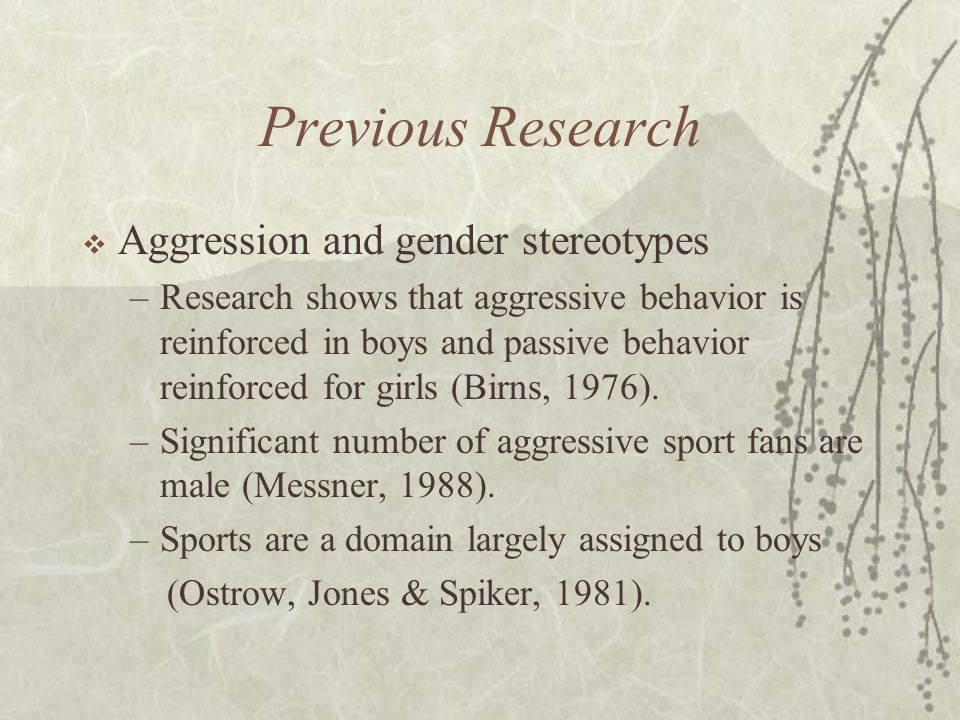 Previous Research  Aggression and gender stereotypes –Research shows that aggressive behavior is reinforced in boys and passive behavior reinforced for girls (Birns, 1976).