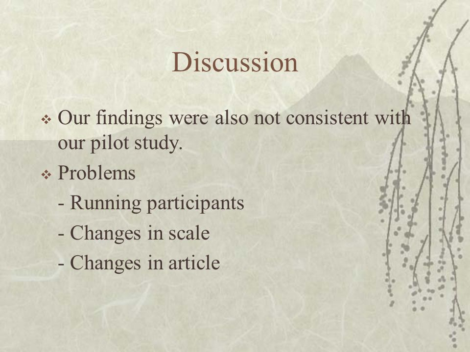 Discussion  Our findings were also not consistent with our pilot study.