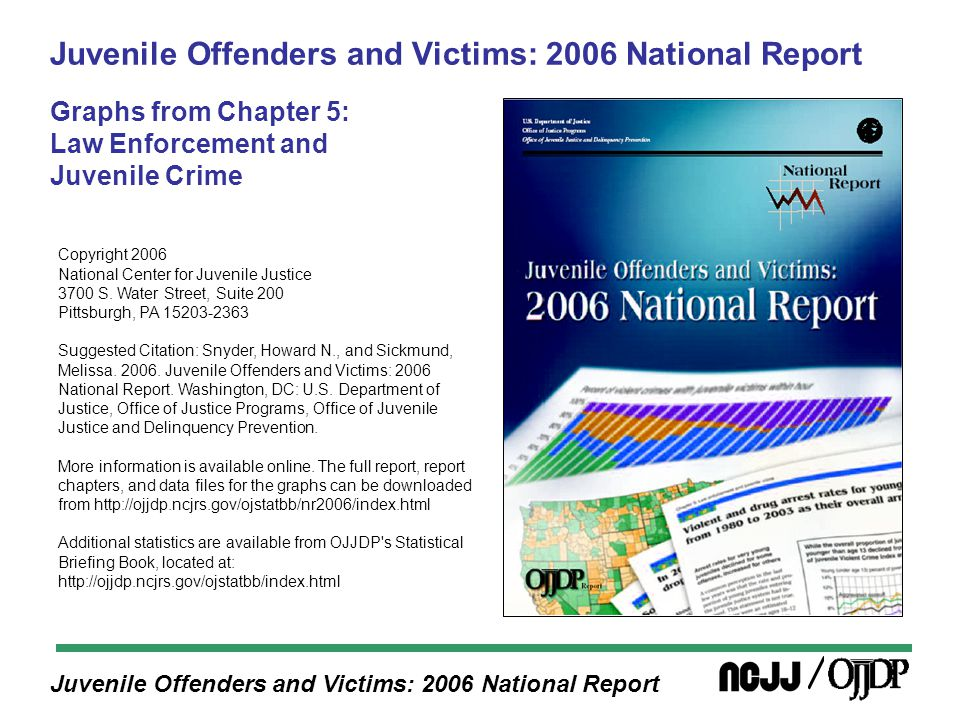 Juvenile Offenders and Victims: 2006 National Report Juveniles in 2003 were far less likely to be arrested for burglary than juveniles 25 years earlier (i.e., their parents' generation)
