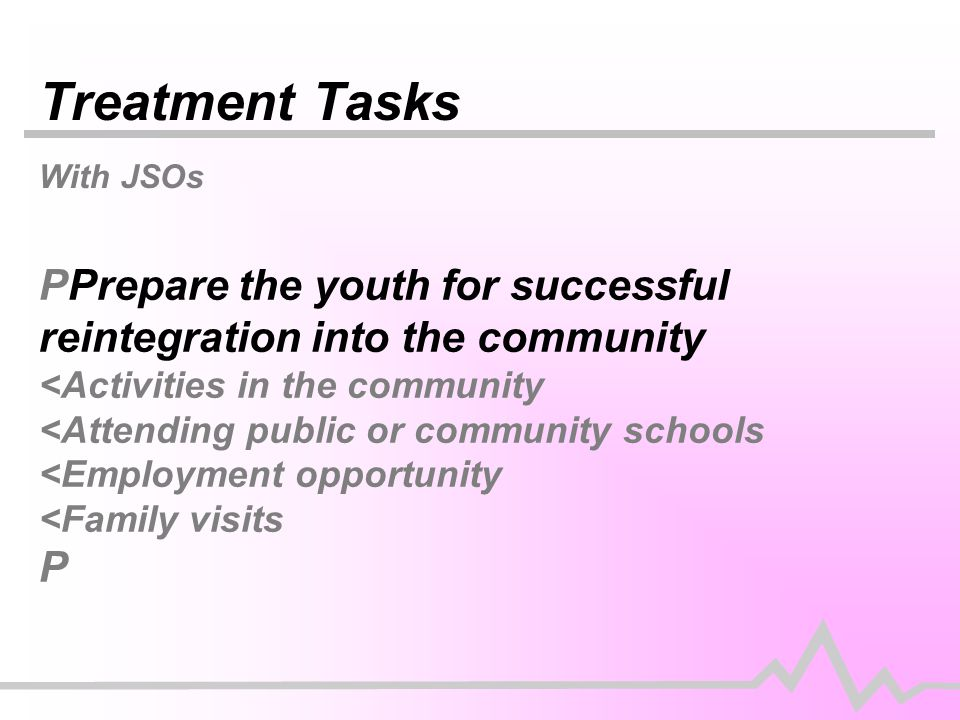 Treatment Tasks With JSOs PPrepare the youth for successful reintegration into the community <Activities in the community <Attending public or community schools <Employment opportunity <Family visits P