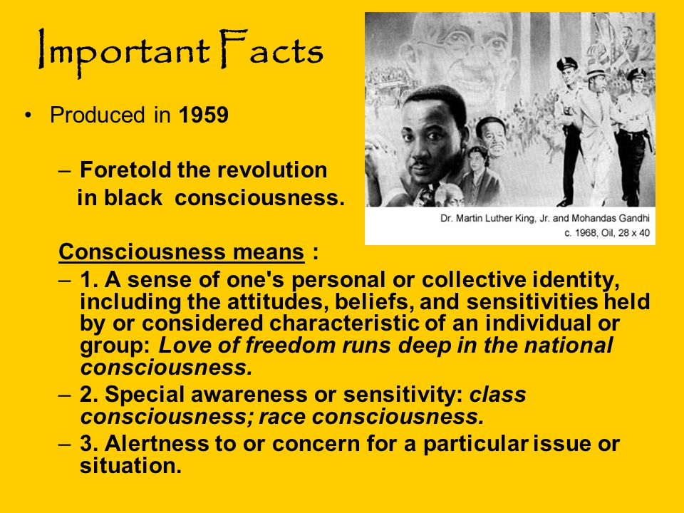 Important Facts Produced in 1959 –Foretold the revolution in black consciousness. Consciousness means : –1. A sense of one's personal or collective id