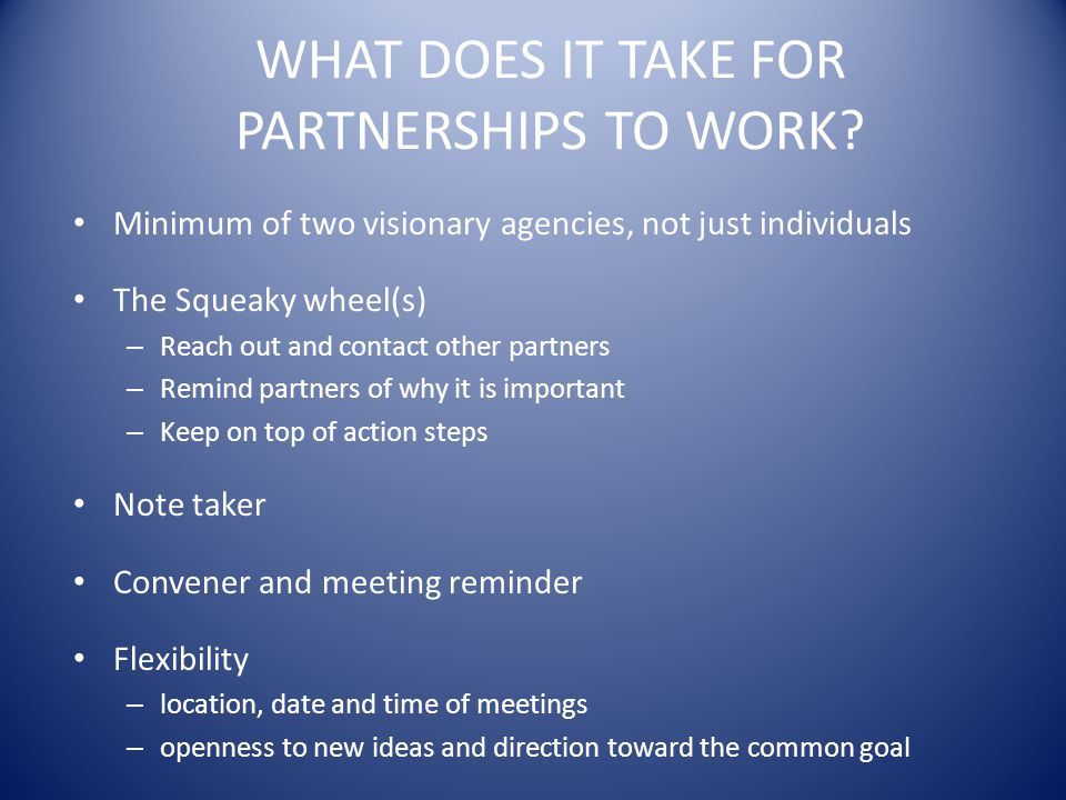 WHAT DOES IT TAKE FOR PARTNERSHIPS TO WORK.