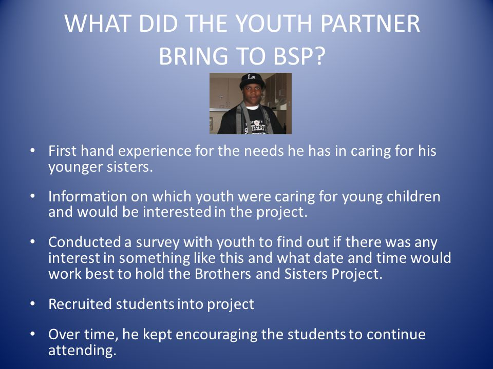 WHAT DID THE YOUTH PARTNER BRING TO BSP.
