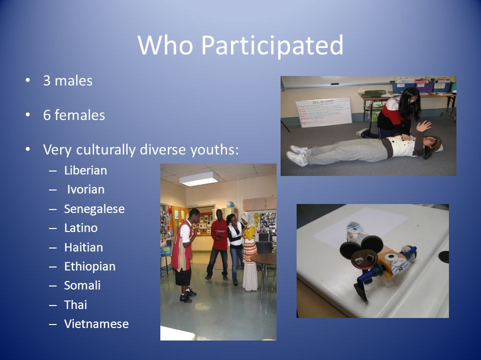 Who Participated 3 males 6 females Very culturally diverse youths: – Liberian – Ivorian – Senegalese – Latino – Haitian – Ethiopian – Somali – Thai – Vietnamese