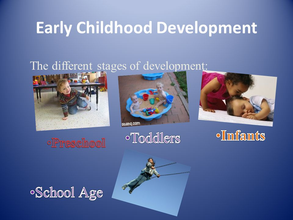 Early Childhood Development The different stages of development: