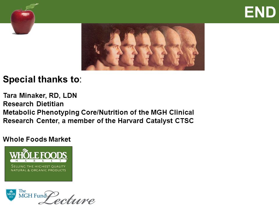 END Special thanks to: Whole Foods Market Tara Minaker, RD, LDN Research Dietitian Metabolic Phenotyping Core/Nutrition of the MGH Clinical Research Center, a member of the Harvard Catalyst CTSC