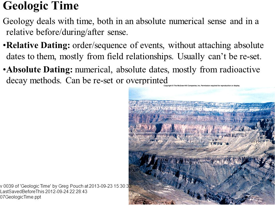 Geologic Time Geology deals with time, both in an absolute numerical sense and in a relative before/during/after sense.
