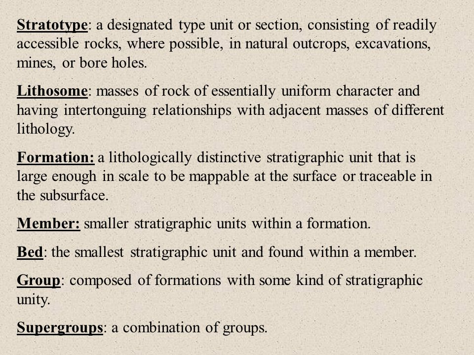 Stratigraphic relations