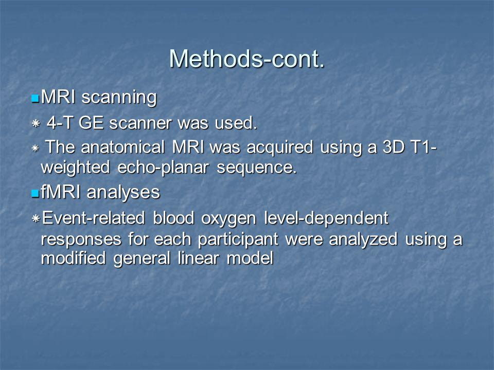 Methods-cont. MRI scanning MRI scanning * 4-T GE scanner was used.