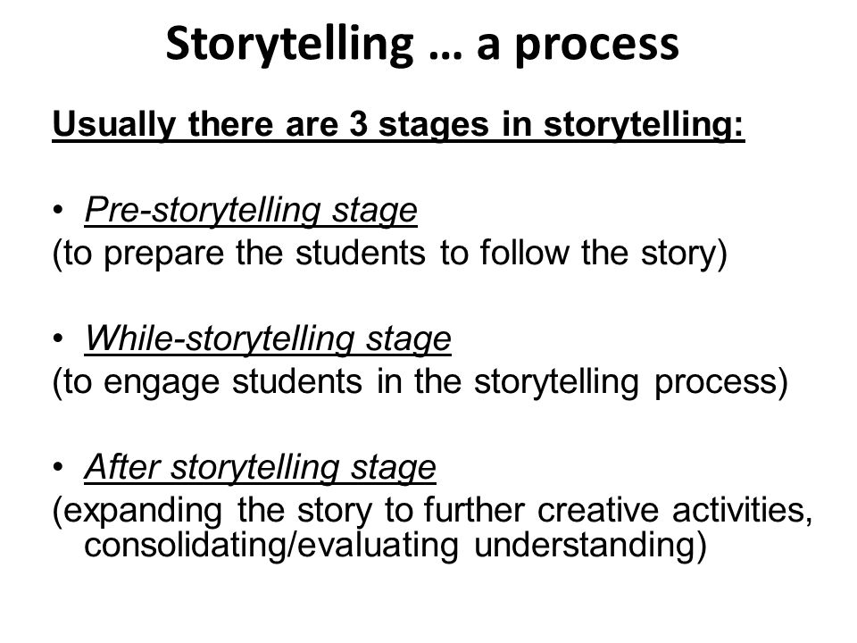 Storytelling … a process Usually there are 3 stages in storytelling: Pre-storytelling stage (to prepare the students to follow the story) While-storytelling stage (to engage students in the storytelling process) After storytelling stage (expanding the story to further creative activities, consolidating/evaluating understanding)