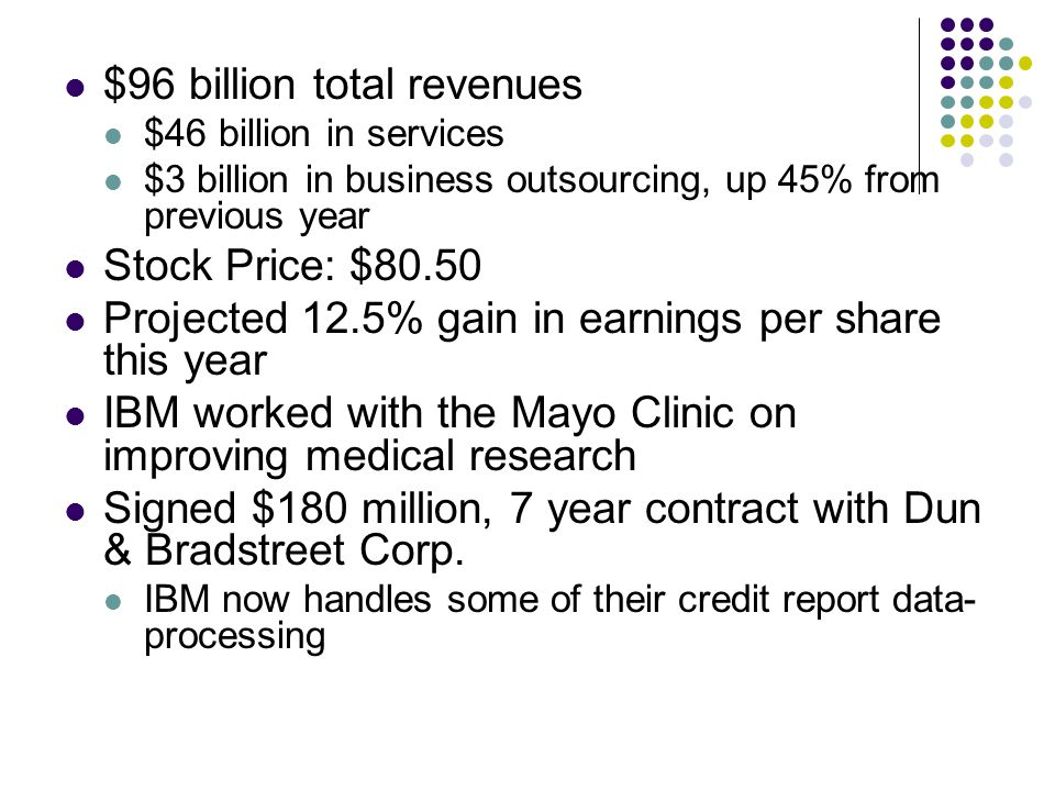 $96 billion total revenues $46 billion in services $3 billion in business outsourcing, up 45% from previous year Stock Price: $80.50 Projected 12.5% g