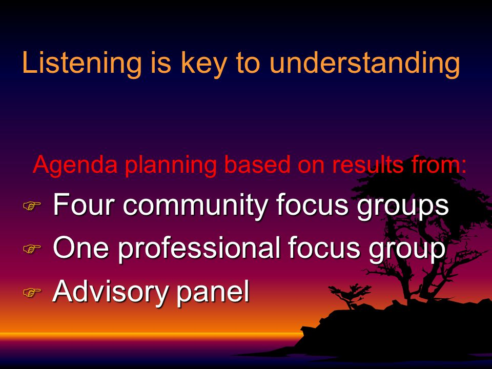 Listening is key to understanding Agenda planning based on results from: F Four community focus groups F One professional focus group F Advisory panel