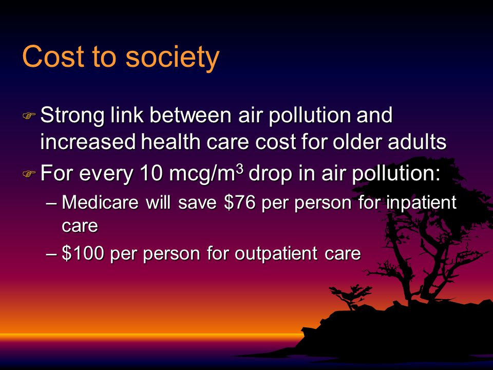 Cost to society F Strong link between air pollution and increased health care cost for older adults F For every 10 mcg/m 3 drop in air pollution: –Med