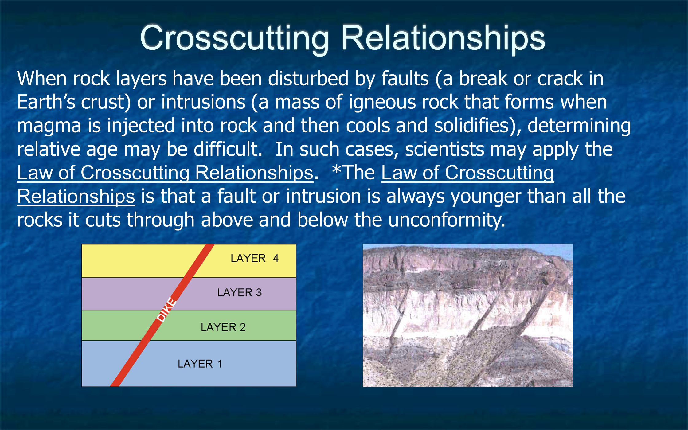 Relative Age Based on what you now know about the Law of Superposition, the Principle of Original Horizontality, unconformities, and the Law of Crosscutting Relationships can you place the layers indicated in the diagram in the correct order, starting from the oldest layer.