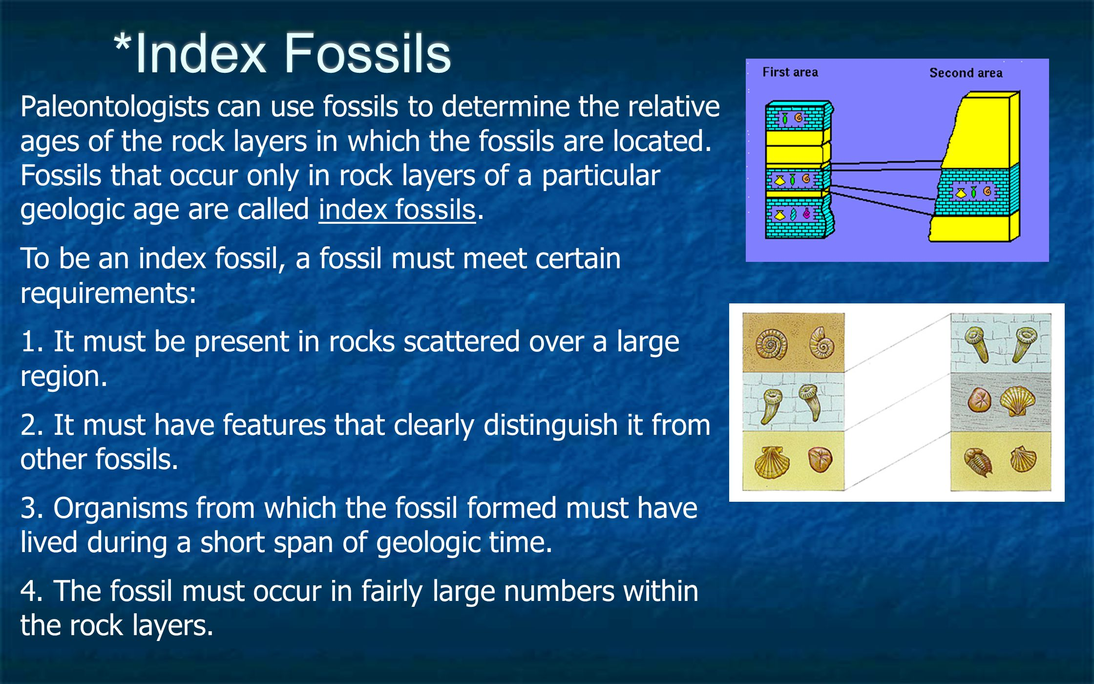 *Index Fossils Paleontologists can use fossils to determine the relative ages of the rock layers in which the fossils are located. Fossils that occur