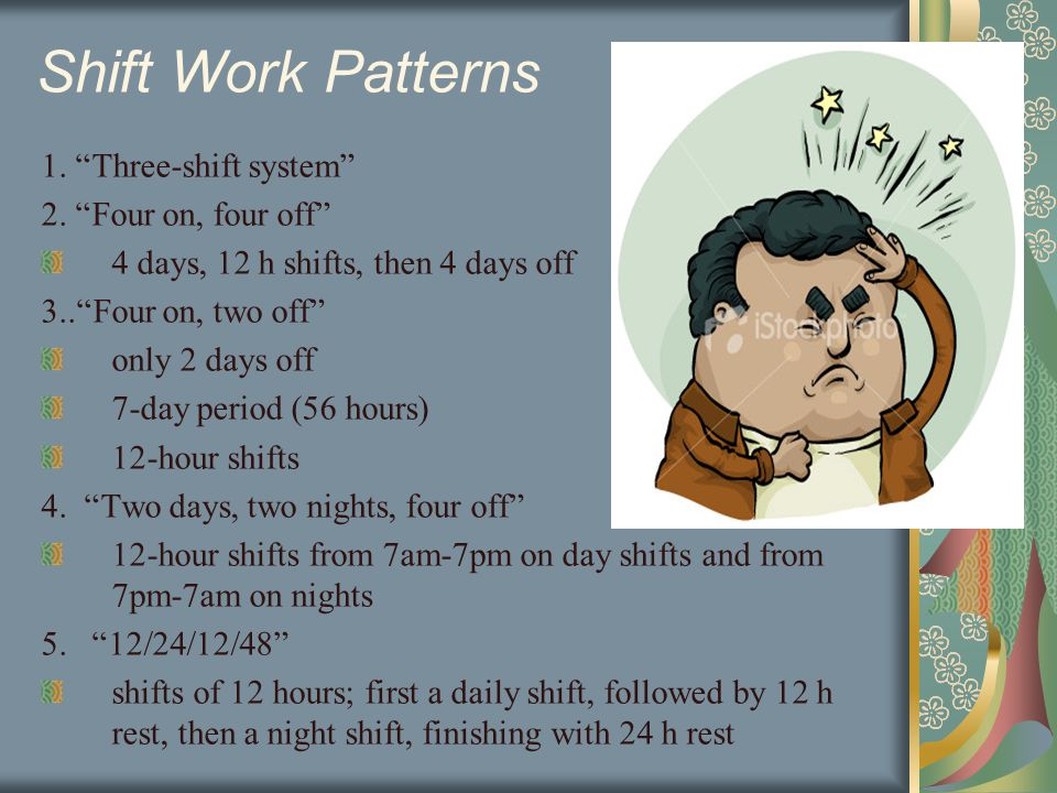 Shift Work Patterns 1. Three-shift system 2.