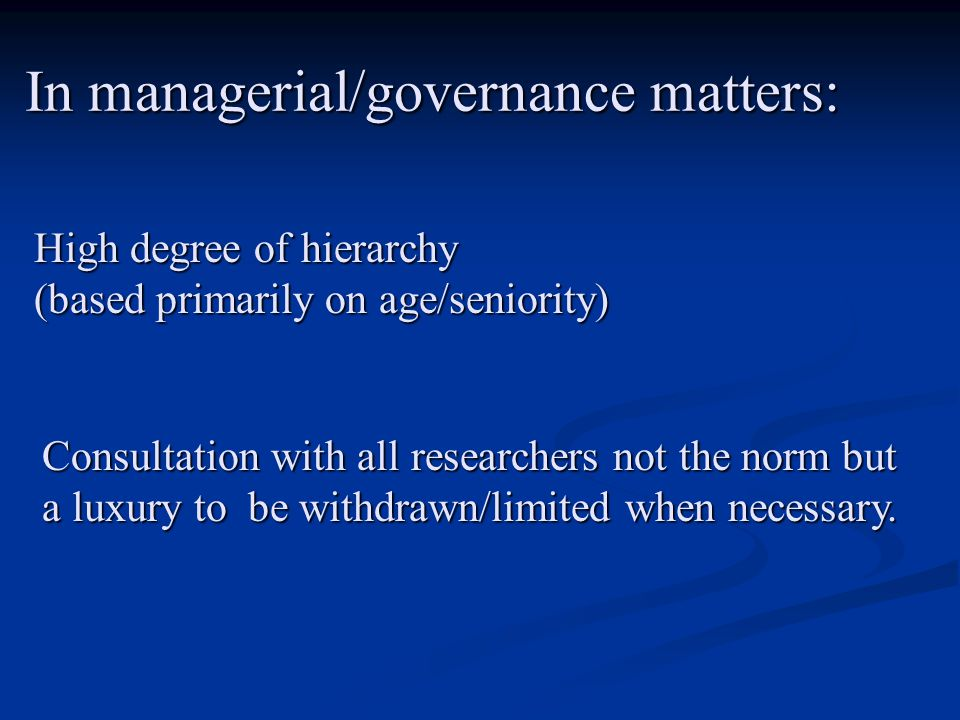 At the level of institutional executive authority (which includes senior scientists!) little or no accountability is deemed necessary (outside of narrowly defined financial/managerial responsibilities) – despite their overriding powers at all levels of functioning of the institution.