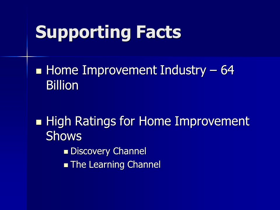 Supporting Facts Home Improvement Industry – 64 Billion Home Improvement Industry – 64 Billion High Ratings for Home Improvement Shows High Ratings fo