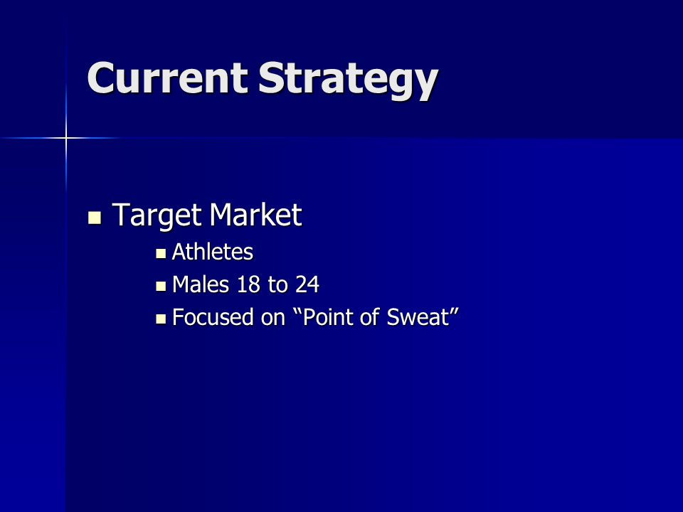 "Current Strategy Target Market Target Market Athletes Athletes Males 18 to 24 Males 18 to 24 Focused on ""Point of Sweat"" Focused on ""Point of Sweat"""