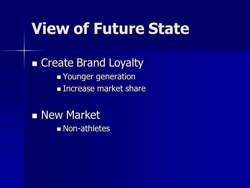 View of Future State Create Brand Loyalty Create Brand Loyalty Younger generation Younger generation Increase market share Increase market share New M