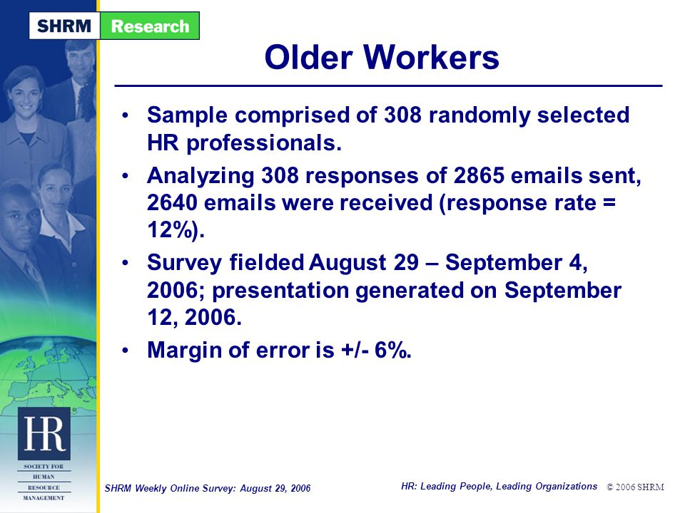 HR: Leading People, Leading Organizations © 2006 SHRM SHRM Weekly Online Survey: August 29, 2006 Older Workers Sample comprised of 308 randomly selected HR professionals.