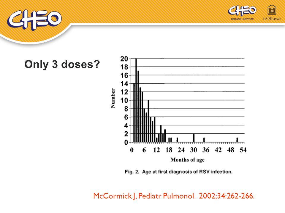 Only 3 doses McCormick J, Pediatr Pulmonol. 2002;34:262-266.