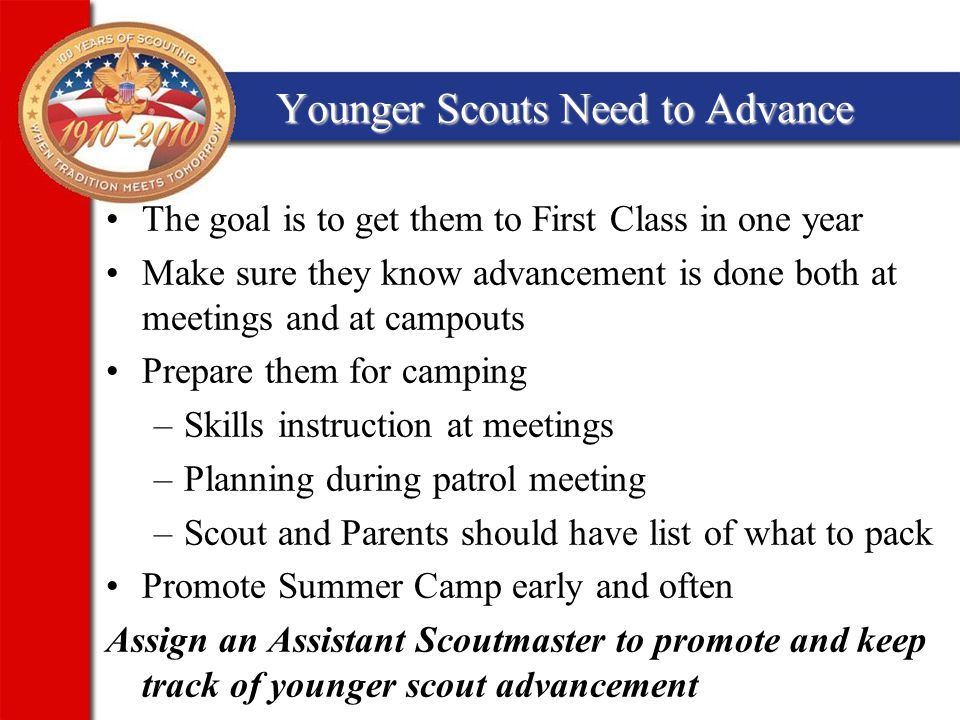 Younger Scouts Need to Advance The goal is to get them to First Class in one year Make sure they know advancement is done both at meetings and at campouts Prepare them for camping –Skills instruction at meetings –Planning during patrol meeting –Scout and Parents should have list of what to pack Promote Summer Camp early and often Assign an Assistant Scoutmaster to promote and keep track of younger scout advancement