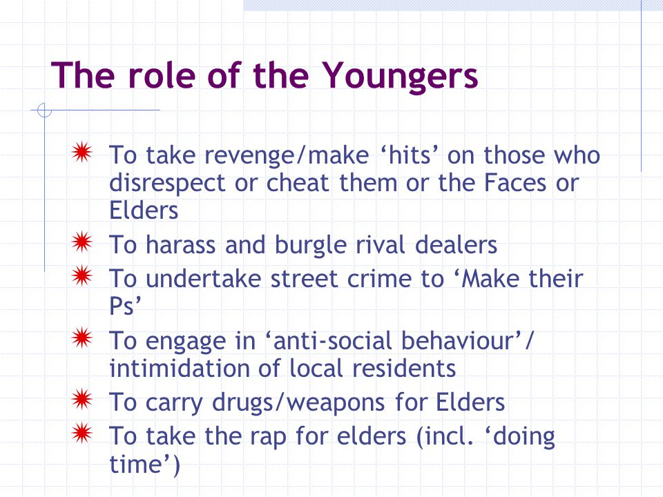The role of the Youngers  To take revenge/make 'hits' on those who disrespect or cheat them or the Faces or Elders  To harass and burgle rival deale