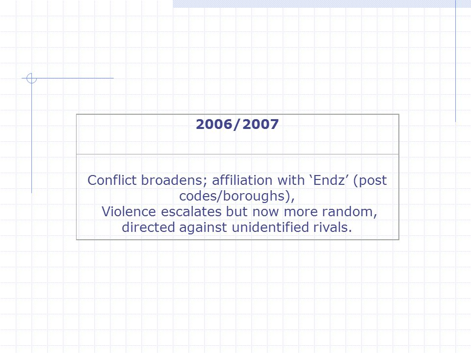 2006/2007 Conflict broadens; affiliation with 'Endz' (post codes/boroughs), Violence escalates but now more random, directed against unidentified riva