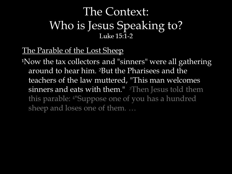The Context: Who is Jesus Speaking to.